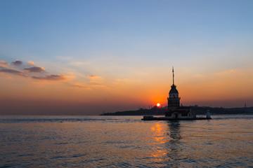 Night photo Maiden Tower, Istanbul, Turkey