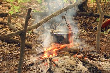 Campfire at dawn.