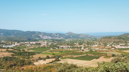 Panorama of the village Vallon Pont d'Arc and the Ardèche mountains.