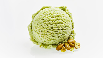 Single Scoop of Green Pistachio Ice Cream