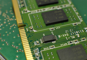 Microchip of RAM memory for personal computer (PC) full frame close up