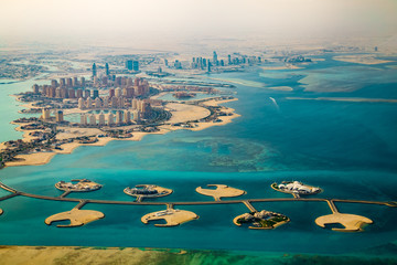 Poster Middle East Aerial view of city Doha, capital of Qatar