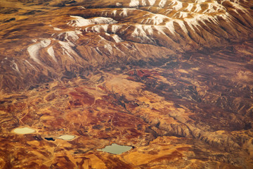 Aerial view from air plane of mountains