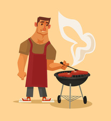 BBQ party. Happy smiling man character barbecuing. Vector flat cartoon illustration