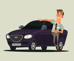 Happy smiling car dealer seller man character showing new car. Vector flat cartoon illustration