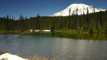 Wall Mural - Calm Waters Ripple Reflection Lake Mount Rainier National Park