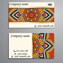 Visiting card and business card set with mandala design element logo. Abstract oriental Layout. Front page and back page