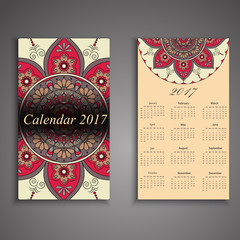 Vector calendar 2017 with decorative elements. Vector mandala design. Template can be used for web and print design.