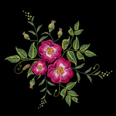 Embroidery wild rose, dogrose flowers. Classic style embroidery, beautiful dogrose vector