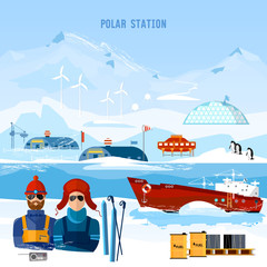 Travel to Antarctica concept. Scientific station on North Pole. Arctic and Antarctic tourism