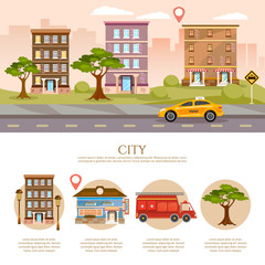 City background, cityscape infographic, life in city concept vector