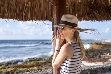 young woman looking at a sea