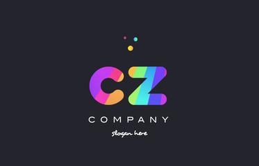cz c z  colored rainbow creative colors alphabet letter logo icon
