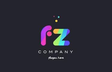 fz f z  colored rainbow creative colors alphabet letter logo icon
