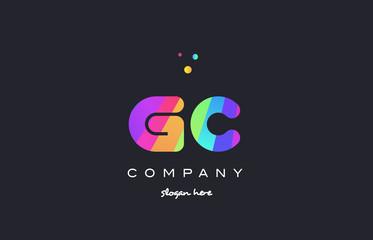 gc g c  colored rainbow creative colors alphabet letter logo icon