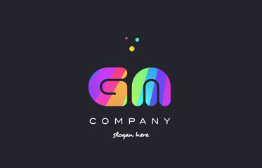 gm g m  colored rainbow creative colors alphabet letter logo icon