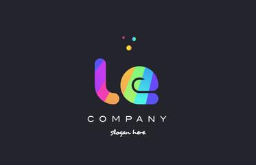 le l e  colored rainbow creative colors alphabet letter logo icon
