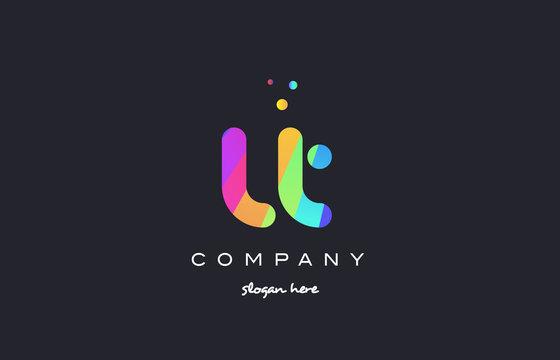 lt l t  colored rainbow creative colors alphabet letter logo icon