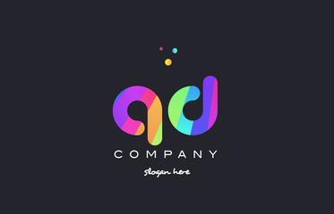 qd q d  colored rainbow creative colors alphabet letter logo icon