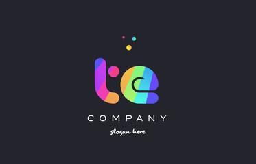 te t e  colored rainbow creative colors alphabet letter logo icon