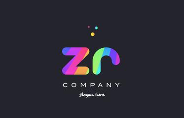 zr z r  colored rainbow creative colors alphabet letter logo icon