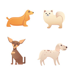 Different type of cartoon dogs. happy dog set vector illustration.