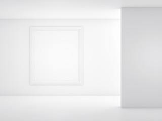 white frame on a light background. Mockup 3d render