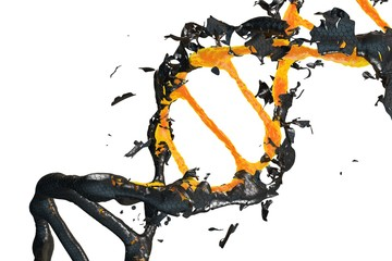 3d image: DNA molecule consists of the collapsing. Genetic mutation and combating viruses.  Science and medic concept. Destroyed structure. Nano technology. Orange and black. white background isolated