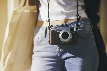 Girl with a vintage camera