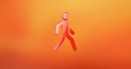 Walking Man on Crosswalk Red 3d Icon