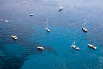 Yachts on the sea at Capri Island