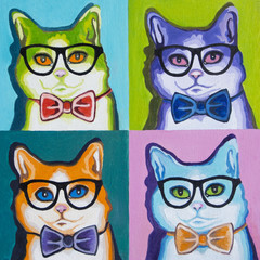 Original oil painting on canvas - Pop Art - Set of Cats in the Glasses / Each cat is unique and drawn separately.