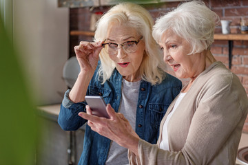 Cheerful senior ladies using modern gadget