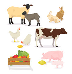 Farmer animals set in cartoon style. Vector illustration of pig, cow, rabbit, sheep, chicken, lamb. Countryside, rural cattle, poultry.