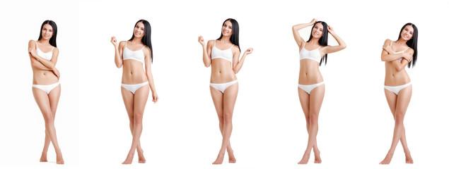 Collage of slim brunette in white lingerie posing at studio.