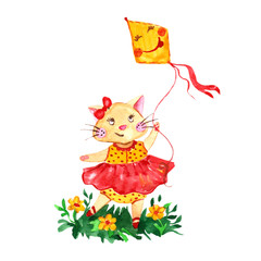 Watercolor romantic cat in red dress with funny kite isolated.