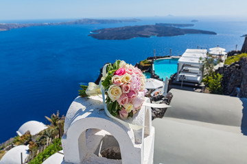 Wedding bouquet on  Santorini