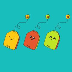 Vector cute kawaii illustration with funny tea bags. Hand drawn japanese kawaii style sketch, abstract imaginary creature