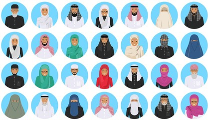 Different muslim arab people characters avatars icons set in flat style isolated on blue background. Differences islamic saudi arabic ethnic persons smiling faces in traditional clothing. Vector.