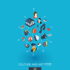 Culture, art integrated 3d web icons. Digital network isometric interact concept. Connected graphic design dot and line system. Background for theater artist, music, circus show bill. Vector Infograph