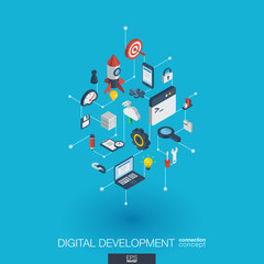 Development integrated 3d web icons. Digital network isometric interact concept. Connected graphic design dot and line system. Abstract background for programming, coding, app design. Vector Infograph