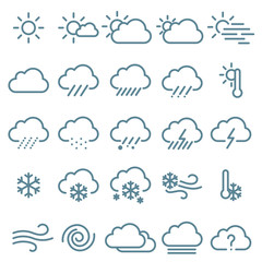 Thin line weather icon  set.