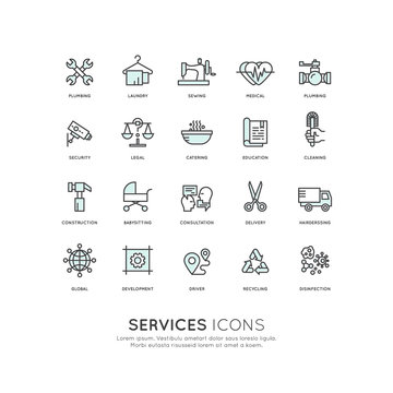 Vector Icon Style Illustration Concept of Services, Isolated Object