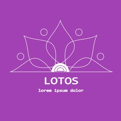 Stock vector line yoga template, graphic design elements for spa center, studio, yoga club. Stylized thin white line lotos and lorem ipsum on violet