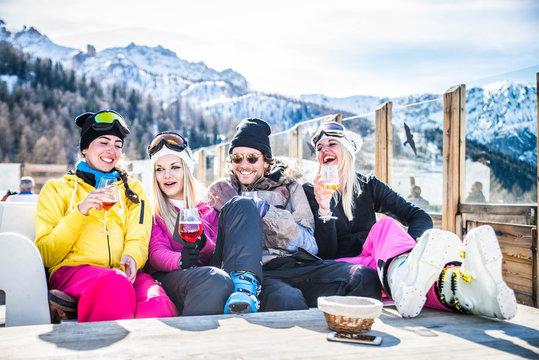 Friends on winter holidays