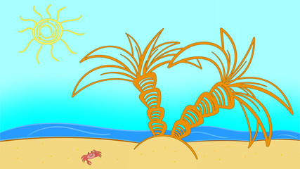 Tropic Beach Summer Landscape. Seashore wave hot. Vacation travel relax vector flat surfboard. Palm tree blue ocean sea.