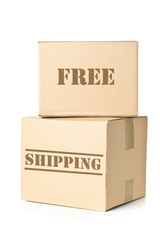 Two carton parcels with Free Shipping imprint