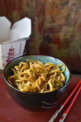 Chinese takeout food of lo mein noodles