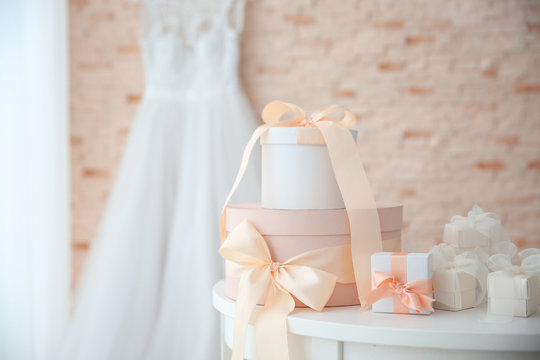 Table with gift boxes for wedding day