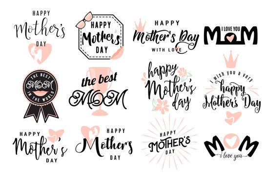 Vector illustration of logo set emblem for mother day greeting